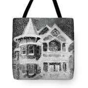 Victorian Christmas Black And White Tote Bag