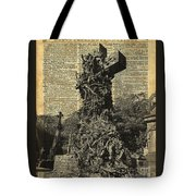 Victorian Gothic Graves Over Antique Dictionary Book Page Tote Bag