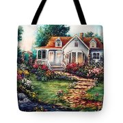 Victorian House With Gardens Tote Bag