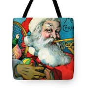 Victorian Illustration Of Santa Claus Holding Toys And Blowing On A Trumpet Tote Bag