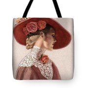 Victorian Lady In A Rose Hat Tote Bag by Sue Halstenberg