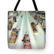 Victorian Poster Of Night Sledding Tote Bag