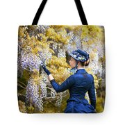 Victorian Woman Admiring Wisteria Flowers Tote Bag
