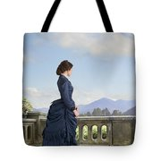 Victorian Woman In A Blue Dress Standing On The Terrace  Tote Bag