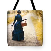 Victorian Woman With A Wicker Shopping Basket Tote Bag