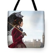 victorian woman with parasol in 19th century London  Tote Bag