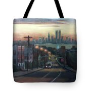 Victory Boulevard At Dawn Tote Bag by Sarah Yuster
