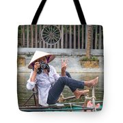Vietnamese Lady Photographer At Tam Coc Tote Bag