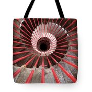 View Down The Steel Double Helix Spiral Staircase At The Ljublja Tote Bag