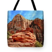 View From Canyon Overlook In Zion National Park Tote Bag