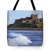 View From Ocean Of Bamburgh Castle Tote Bag