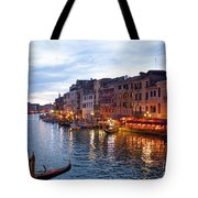 View From Rialto Bridge Of Venice By Night. Tote Bag