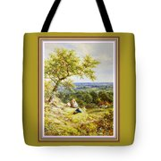 View From The Hill On The Village Below. P B With Decorative Ornate Printed Frame. Tote Bag