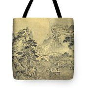 View From The Keyin Pavilion On Paradise - Baojie Mountain Tote Bag by Wang Wen