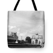 View From The Louvre In Black And White Tote Bag