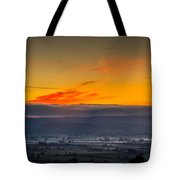 View From The Top Of Glastonbury Tor At Sunrise Tote Bag