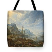 View Of A River With Boat Moorings Tote Bag