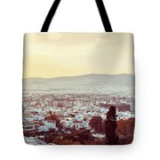 view of Buildings around Athens city, Greece Tote Bag