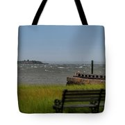 View Of Castle Pinckney During Tropical Storm Hermine Tote Bag