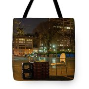View Of Chess Board In The Middle Of Busy Sidewalk At Night Tote Bag