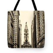 View Of Cityhall From Broad Street In Philadelphia Tote Bag by Bill Cannon