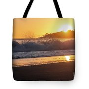 View Of Large Fishing Boat From The Beach At Sunset Tote Bag