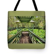 View Of Lily Pads From Gazebo By Kaye Menner Tote Bag