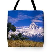 View Of Machhapuchhare From Sarangkot Tote Bag