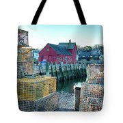 View Of Motif Through Lobster Pots Tote Bag by Jeff Folger