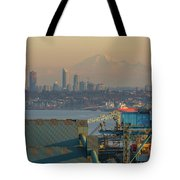 View Of Mount Baker And Vancouver Bc At Sunset Tote Bag