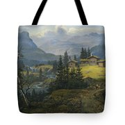 View Of Oylo Farm, Valdres Tote Bag