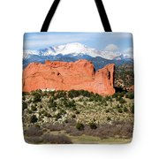 View Of Pikes Peak And Garden Of The Gods Park In Colorado Springs In Th Tote Bag