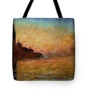 View Of San Giorgio Maggiore Venice By Twilight Tote Bag by Claude Monet