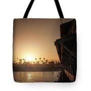 View Of Setting Sun Over Santa Barbara, Ca Tote Bag