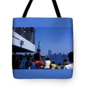 View Of Statue And Towers Tote Bag