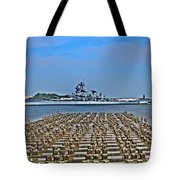 View Of The Battleship New Jersey From Philadelphia Tote Bag