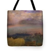 View Of The Bay Of Naples With Vesuvius Smoking In The Distance Tote Bag