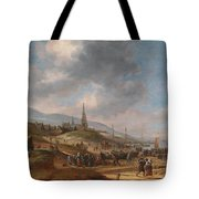 View Of The Beach At Scheveling Tote Bag