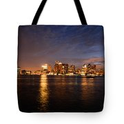 View Of The Boston Waterfront At Night Tote Bag