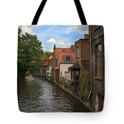 View Of The Canal From Maria Brug On Katelijnestraat In Bruges Tote Bag