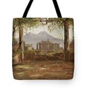 View Of The Castel Nuovo And Vesuvius From A Pergola Tote Bag