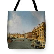 View Of The Grand Canal Venice With The Fondaco Dei Tedeschi Tote Bag