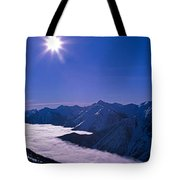 View Of The Kicking Horse Resort Tote Bag