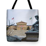 View Of The Museum Of Art In Philadelphia From The Parkway Tote Bag