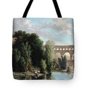 View Of The Pont Du Gard Tote Bag by Henri Marie Poinsot