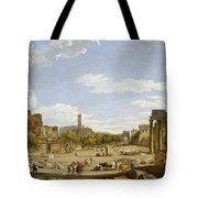 View Of The Roman Forum Tote Bag by Giovanni Paolo Panini