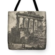 View Of The So-called Temple Of Concord With The Temple Of Saturn, On The Right The Arch Of Septimiu Tote Bag
