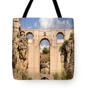 View Of The Tajo De Ronda And The Puente Nuevo Bridge From Across The Valley Tote Bag