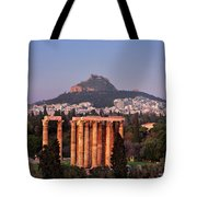 View Of The Temple Of Olympian Zeus And Mount Lycabettus In The  Tote Bag