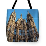 View Of The Top Detail Of The Parlament House In London Tote Bag